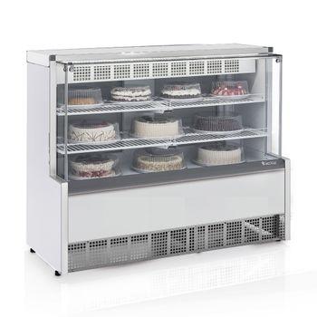 Vitrine-Refrigerada-Confeitaria-Dupla-Funcao-GPEA-140C-BR-Branca-Linha-Aurora-Vidro-Reto-Gelopar