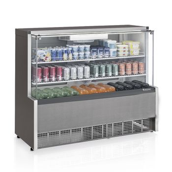 Vitrine-Refrigerada-Ar-Forcado-GPFA-140C-TI-Tipo-Inox-Linha-Aurora-Gelopar-Vidro-Curvo