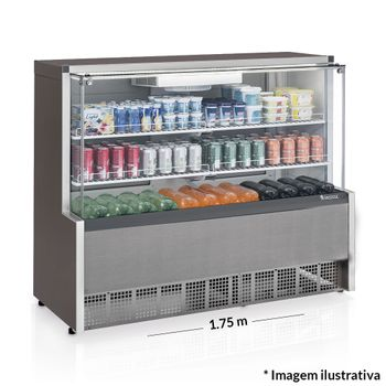 Vitrine-Refrigerada-Ar-Forcado-GPFA-175R-TI-Tipo-Inox-Linha-Aurora-Gelopar-Vidro-Reto