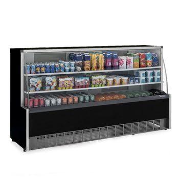 Vitrine-Refrigerada-Universal-2-Placas-Frias-GPDA-205R-PR-Preta-Linha-Aurora-Vidro-Reto-Gelopar