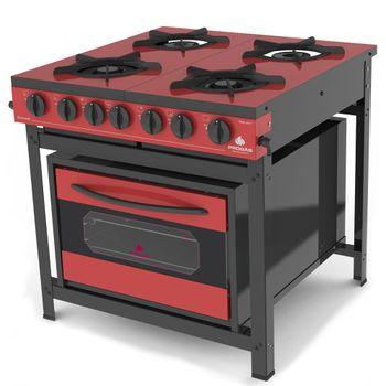 Fogao-Industrial-com-Forno-Gourmet-PRGE-402-F-Gourmet-Progas-Tampo-Esmaltado-Vermelho-