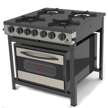 Fogao-Industrial-com-Forno-Gourmet-PRGE-402-F-Gourmet-Progas-Tampo-Esmaltado-Preto-e-Aco-Inox-